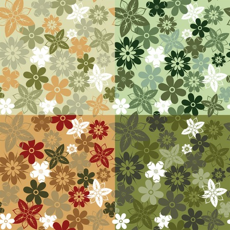Four variants of color camouflage seamless flower pattern, element for design, vector illustration Vector