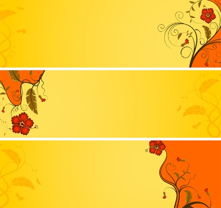Three variant flower banner with wave, element for design, vector illustration Vector