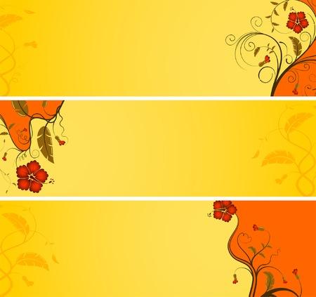 Three variant flower banner with wave, element for design, vector illustration Vector