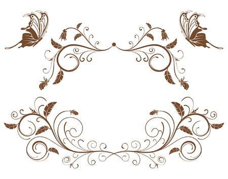 cobrar: Recoge flores frontera con mariposa, elemento para el dise�o, ilustraci�n vectorial  Vectores