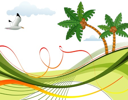 Abstract summer background with palm tree and wave pattern, starfish, vector illustration Vector