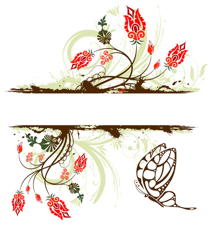 Grunge vernice fiore sfondo con farfalla, elemento per la progettazione, illustrazione vettoriale