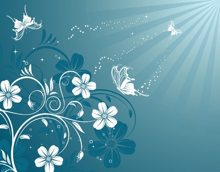 butterfly background: Flower background with butterfly, element for design, vector illustration