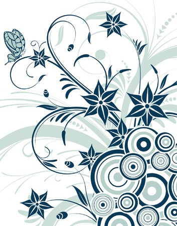 Flower background with butterfly and circle, element for design, vector illustration Vector