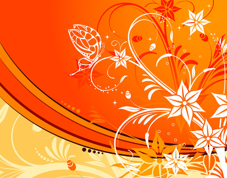Flower background with butterfly, element for design, vector illustration Stock Vector - 3024595