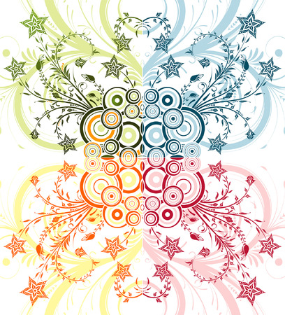 Collect flower background with circle, element for design, vector illustration Illustration