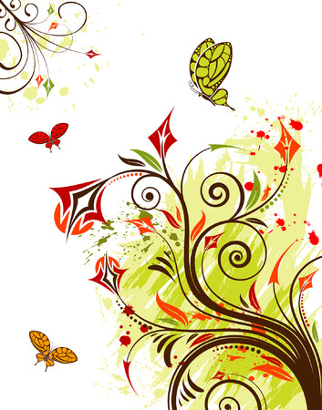 Grunge flower background with butterfly, element for design, vector illustration Vector