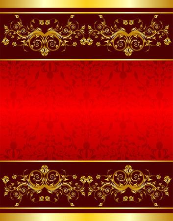 element for design: Gold flower background with frame, element for design, vector illustration