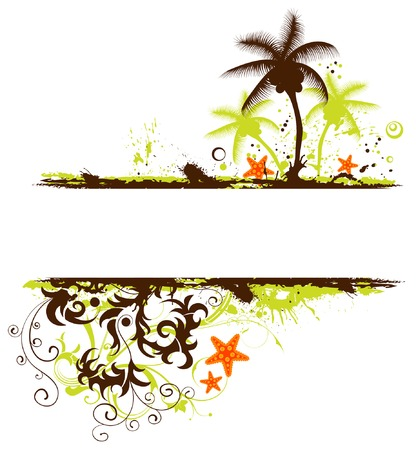 leafed: Abstract summer grunge frame with starfish, element for design, vector illustration