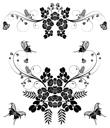 collect: Collect flower border with butterfly, element for design, vector illustration