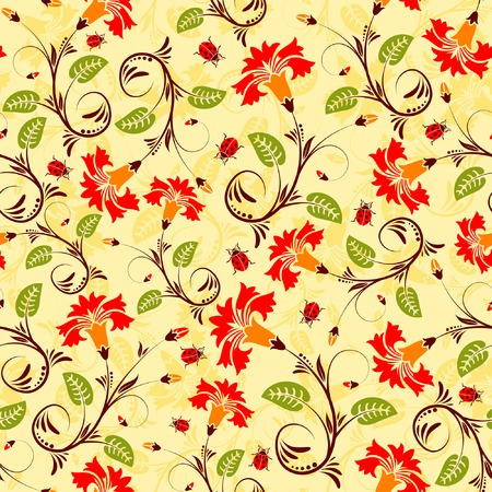 Flower seamless pattern with ladybug, element for design, vector illustration Vector