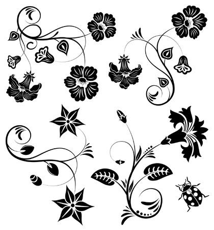 Collect flower border with ladybug, element for design, vector illustration Illustration