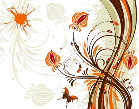 Fiore sfondo a farfalla e modello d'onda, elemento per la progettazione, illustrazione vettoriale  Vettoriali