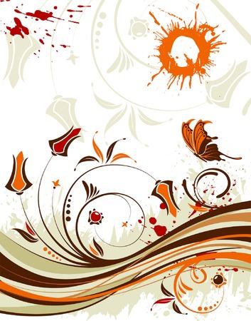 Grunge fiore sfondo a farfalla e modello d'onda, elemento per la progettazione, illustrazione vettoriale  Vettoriali
