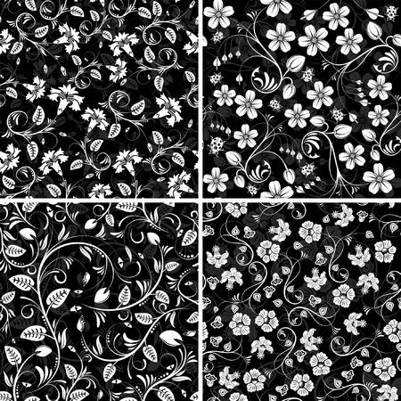 iteration: Da quattro modelli di fiori senza saldatura con coccinella, elemento di design, illustrazione vettoriale Vettoriali