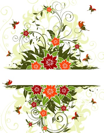 Abstract grunge flower frame with butterfly, element for design, vector illustration Vector