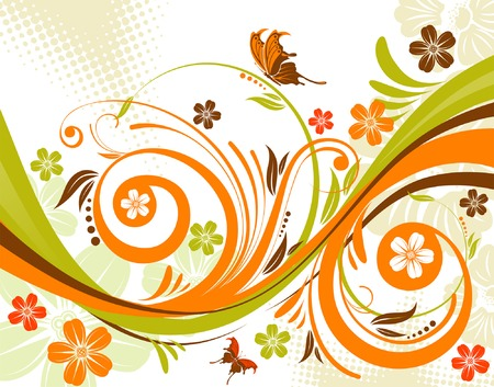 Flower background with butterfly and wave pattern, element for design, vector illustration Stock Vector - 3318765
