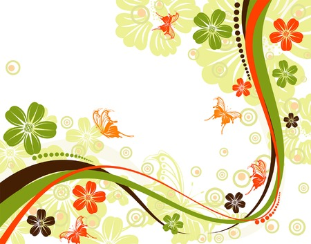 Flower background with butterfly and wave pattern, element for design, vector illustration Stock Vector - 3318764