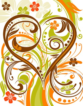 Flower background with heart and wave pattern, element for design, vector illustration Stock Vector - 3374563