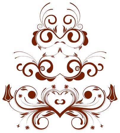 element for design: Collect flower border, element for design, vector illustration Illustration