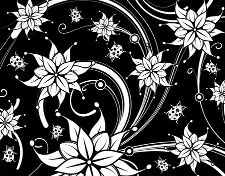 Floral background with ladybug, element for design, vector illustration Vector