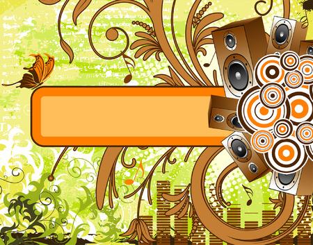 Grunge music background with loudspeaker and banner, element for design, vector illustration Vector
