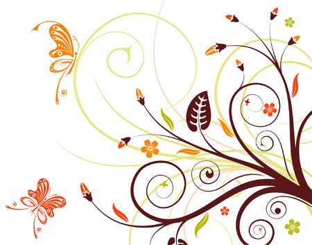 Flower background with butterfly, element for design, vector illustration Stock Vector - 3387138