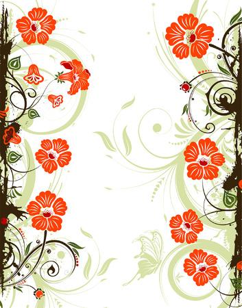 Grunge flower frame with , element for design, vector illustration Vector