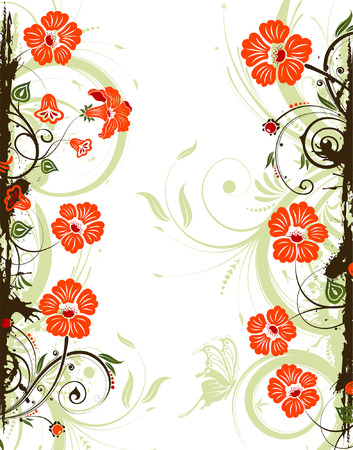 Grunge flower frame with , element for design, vector illustration Stock Vector - 3387183