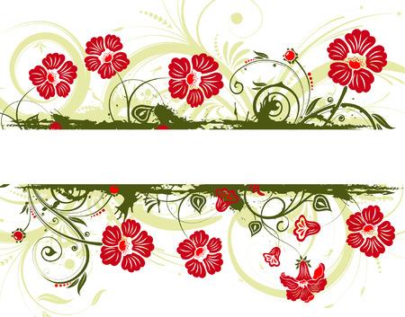 Grunge flower frame, element for design, vector illustration Vector