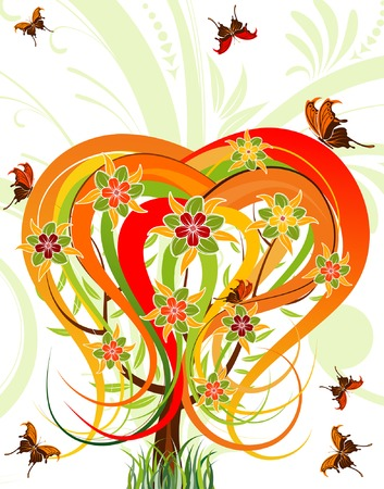 Flower tree with butterfly, element for design, vector illustration Vector