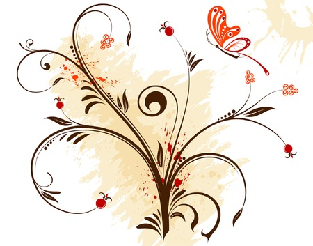 Grunge flower background with butterfly, element for design, vector illustration Stock Vector - 3424452