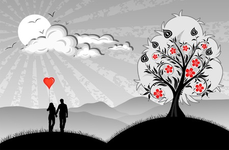 Lovers with hearts balloon on nature background Vector