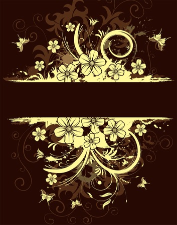 Abstract grunge flower frame with butterfly, element for design, vector illustration Stock Vector - 3447524