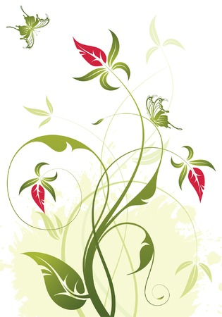 Grunge floral background with butterfly, element for design, vector illustration Vector