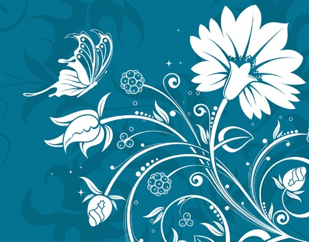 Flower background with butterfly, element for design, vector illustration Stock Vector - 3492228