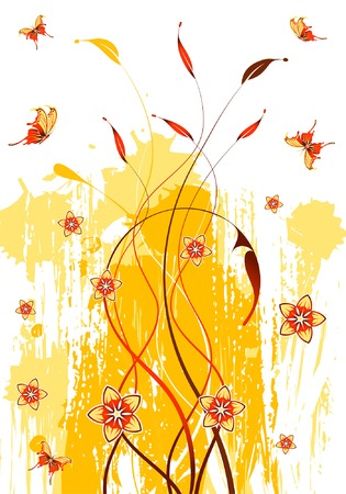 Abstract grunge floral background with butterfly, element for design, vector illustration Stock Vector - 3522736