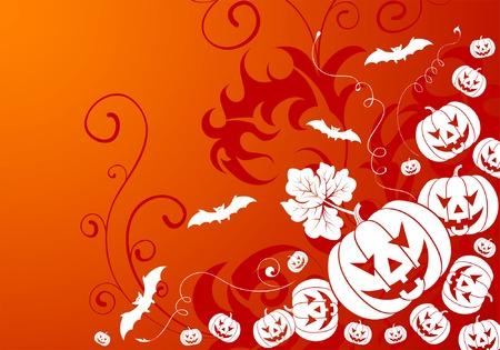 Halloween background with bat and pumpkin, element for design, vector illustration Vector