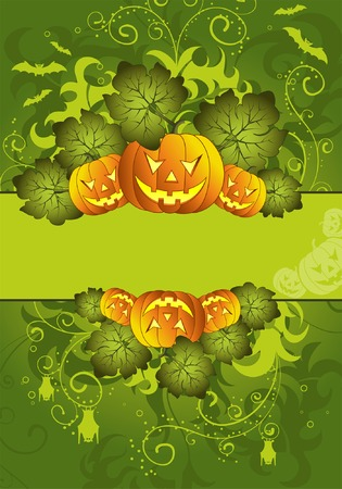 Halloween frame with bat and pumpkin, element for design, vector illustration Vector