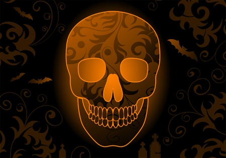Halloween background with skull and bat, element for design, vector illustration Vector