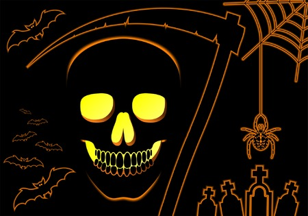 Halloween background with skull and spider, element for design, vector illustration Vector