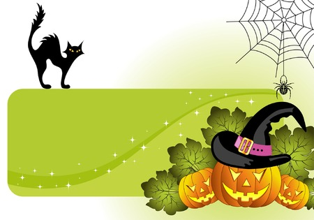 Halloween frame with pumpkin, spider, cat, element for design, vector illustration Stock Vector - 3522721