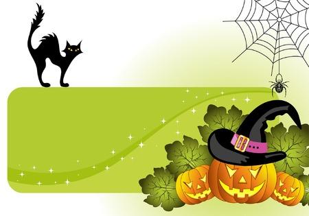 Halloween frame with pumpkin, spider, cat, element for design, vector illustration Stock Vector - 3522721