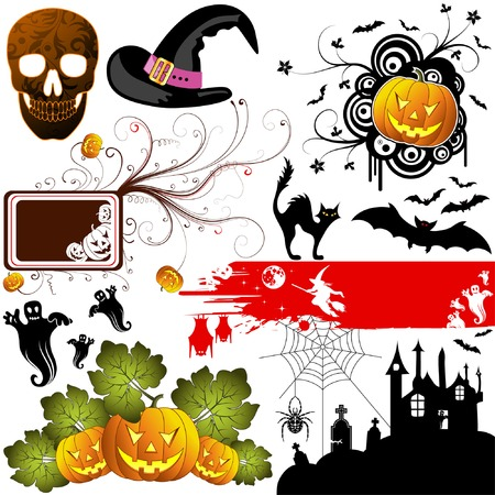 Big Halloween collection with bat, pumpkin, witch, ghost, element for design, vector illustration Stock Vector - 3522724