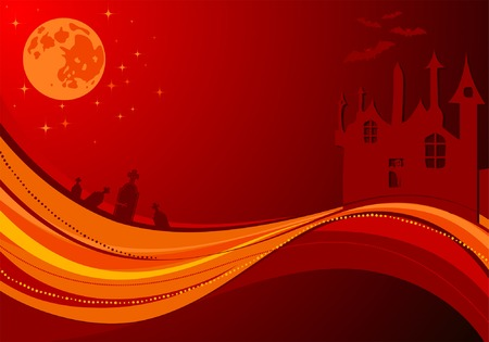 Halloween background with  and wave pattern, element for design, vector illustration Vector