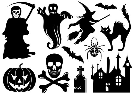 tombstone: Big Halloween collection with bat, pumpkin, witch, ghost, element for design, vector illustration