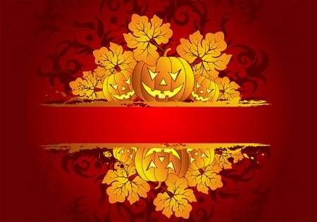 Abstract grunge Halloween frame with pumpkin, element for design, vector illustration Vector