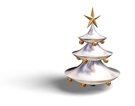 3D Christmas tree with star and baubles, element for design, vector illustration illustration