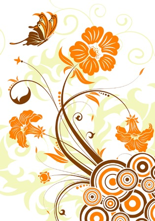 Floral background with circle, element for design, vector illustration Vector