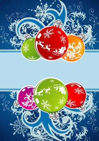 Christmas frame with sphere and snowflakes, element for design, vector illustration Vector